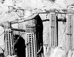 The construction company built four water intake towers for the Hoover Dam - each tower was 395 feet tall.